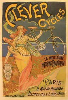 Clever Cycles, 1890s - original vintage poster listed on AntikBar.co.uk