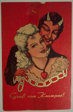 Creepy Vintage Krampus Illustrations for an Unmerry Holiday Pop Art Vintage, Vintage Magazine, Arte Horror, Traditional Tattoo, Vintage Postcards, Graphic, Illustrations, Dark Art, Oeuvre D'art