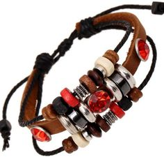 Red Crystal Bracelet Multi layer Leather Strap Round Beads