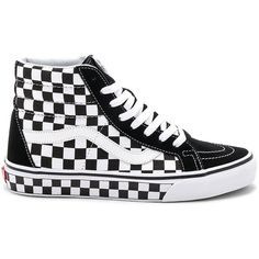 Vans Sk8-Hi Reissue Checkerboard ($65) ❤ liked on Polyvore featuring men's fashion, men's shoes, men's sneakers, mens rubber sole shoes, mens lace up shoes, vans mens shoes, mens canvas shoes and mens canvas sneakers