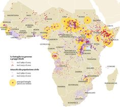 I conflitti in Africa Fonti: Uppsala conflict data program/ucdp conflict encyclopedia, ucdp.uu.se/database, Uppsala university, 2013 ; Prio/Acled (Armed conflict location and events dataset), 2013.