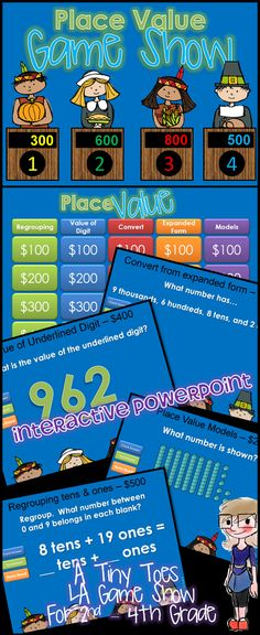 Looking for an exciting way to practice Place Value for Second and Third Grade? Here it is..and in a fun, INTERACTIVE powerpoint! With 25 practice problems, in a game show setting, your students will get lots of review.  You're going to LOVE the Thanksgiving themed contestants!   Categories include: Regrouping Tens and Ones, Value of the Underlined Digit, Converting to/from a Number, Convert from Expanded Form, Place Model Values $