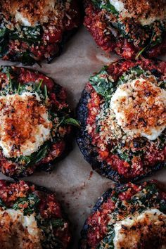 Stuffed Portobello Mushrooms with Crispy Goat Cheese #splendideats