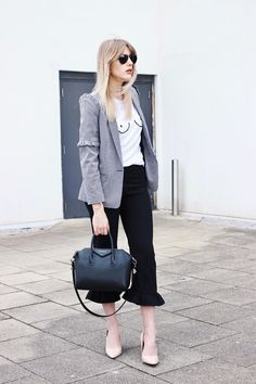 High Street Fashion Blogger in their 30s - Charlotte Buttrick - Frill trousers - boob t-shirt - gingham check blazer and nude court shoes street style