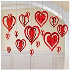 Valentine's Day Heart Decoration Kit This pack of foil hanging heart decorations includes 16 hearts, in assorted colours of pink, red and purple and assorted size's of and Lovely decorations to surround your room with love! San Valentin Ideas, Saint Valentin Diy, Diy Valentine's Day Decorations, Valentines Day Decorations, Hanging Decorations, Valentines Day Hearts, Valentine Day Crafts, Thema Deco, Valentines Bricolage