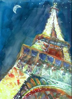 Eiffel Tower Painting - Circus Paris by Lis Zadravec Eiffel Tower Painting, Paris Painting, Creative Inspiration, Watercolor Art, Artsy, Wall Art, How To Plan, Drawings, Pictures