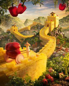 Great Wall OF China Food Art by Carl Warner.