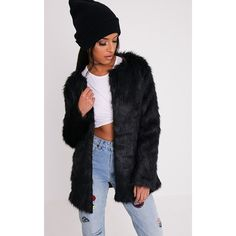 Florencia Black Faux Fur Coat - 6 ($49) ❤ liked on Polyvore featuring outerwear, coats, black, longline coat, fake fur coats, imitation fur coats and faux fur coat