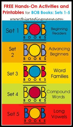 FREE BOB Book Printables: Set 1, Book 1 & 2 - This Reading Mama