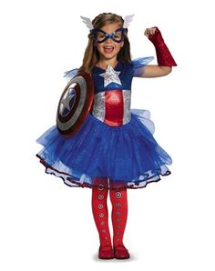 Hannah has been begging to be Captain America with a skirt.  She says she has to have a skirt.  I found this one.  She will love it.  Captain America Tutu Dress Child Costume