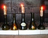 Green Wine Bottle Candle Holders