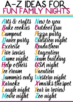 Spend more time with your family this year by planning out family nights each week! This free printable list of family night activities is perfect for any age - for toddlers with teenagers with school-aged kids and more. Some of the best family nights a Family Guy, Family Goals, Family Life, Family Meeting, Bonding Activities, Activities To Do, Summer Activities, Indoor Activities, Family Activities With Toddlers