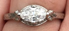Marquise_Madness' 1925 Vintage Tiffany Inspired Setting:  East-West Marquise Engagement Ring Reset (Top View) - image by Marquise_Madness