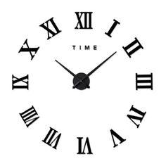 Living Room Slient Wall Clock DIY Roman Digit Mirror Sticking black