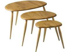 This designer Nest of Tables by Ercol is part of its famous Originals collection - View this stylish set of occasional tables online today at Barker and Stonehouse Ercol Coffee Table, Ercol Dining Chairs, Ercol Chair, Ercol Furniture, Blue Velvet Dining Chairs, Kitchen Chairs, Fine Furniture, Coffee Tables, Plank Table