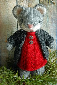 Esmerelda - Knitted Woodland Mouse Toy in Wool Dress and  Cardigan