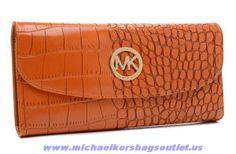Michael Kors Crocodile-embossed Snap Wallet Walnut Sale Online
