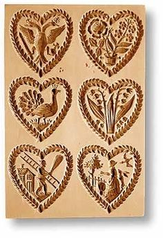 "6 Pictures: Hearts springerle cookie mold, 5.9x3.9"" (150x100mm)"