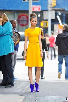 Zendaya Coleman's Street Style. Check out her electric blue pumps