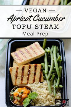 Vegan Apricot Cucumber Tofu Steak Meal Prep recipe - Tofu main dish with an easy apricot cucumber compote. Serve with quinoa and green beans for a protein packed plant-based meal! An easy vegan recipe that is perfect for meal planning! Vegan Meal Prep, Lunch Meal Prep, Easy Meal Prep, Easy Meals, Dinner Meal, Keto Meal, Vegan Recipes Easy, Lunch Recipes, Healthy Dinner Recipes