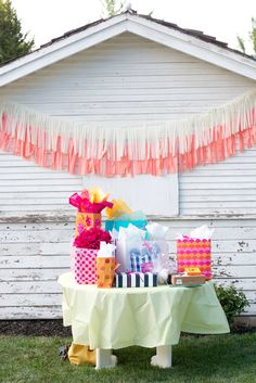 layered fabric banners