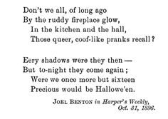 Halloween Poetry (part 2), published October 31, 1896 in Harper's Weekly, and republished in The Book of Halloween by Ruth Edna Kelly  | Victorian America Celebrates Halloween | KristinHolt.com