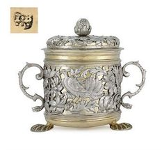 A rare Charles II parcel-gilt silver porringer and cover, London, circa 1670 (estimate $80,000-120,000), is one of the collection's fine early works. While most surviving porringers of this style and period are unmarked, this example is marked by Jacob Bodendick, a celebrated German-born silversmith. See link for correct more info
