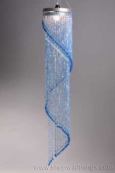 Chandelier Chelsea Swirl Crystals- Blue Iridescent - 4 ft in 2019 Door Beads, Modern Led Ceiling Lights, Beaded Curtains, Chandelier Lighting, Chandeliers, Purple Chandelier, Glass Pendant Light, Beads And Wire, Ceiling Design