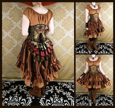 Full Victorian Steampunk Ensemble - 4 pc Set - Copper, Espresso, Russet, Gold - Custom Made in Your Size, Choose Your Corset Style by VeneficaCorsetry