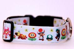 Adjustable Dog CollarSuper Mario by HandmadeInTheHammer on Etsy, $15.00