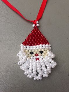 Beaded Santa Decorations Santa Ornaments by hannahdaisydesigns
