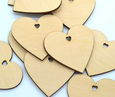 Hearts with heart shaped holes : 100 Laser cut wooden hearts 1.5 x 1.5 Inches - Made to order