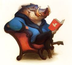 Warthogs are wise because they eat bookworms between meals! - Justin Gerard illustration.