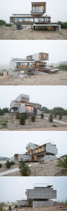 Architect Luciano Kruk designs a house made of three stacked forms of rough…