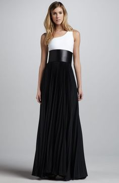 one shoulder black and white maxi | This is something that I boughht years ago and haven't been able to wear. I want to dress it down like the other examples on my board to be a more everyday type dress.