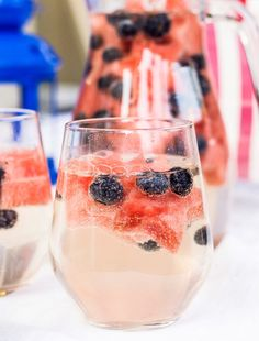 Recipe: 4th of July Wine Sparklers   Fourth of July recipes can be so fussy, but these perky blueberries and star-shaped slices of watermelon bob festively in the drink, transforming the spritzer into a holiday-appropriate sparkler. They also make for tasty edible garnishes to gobble up once you're done sipping.