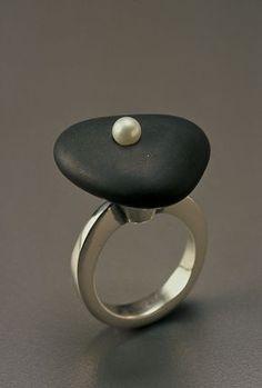 "Tom McCarthy Sterling, stone, pearl 1 3/8"" x 1"" x 1"" 2004"