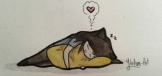 ydolem-art:  Catmilla and the Yellow Pillow. :3
