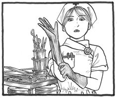 THE SEIJI Pen-and-ink drawing Nurse