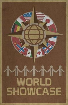 World Showcase - Walt Disney's EPCOT retro poster