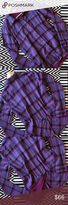 Splendid plaid long sleeve button down shirt NWOT. Splendid plaid long sleeve button down shirt. Size L. 100% cotton. Back slit. Super cute! Measurements pictured. Splendid Tops Button Down Shirts