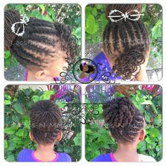 #Sisterlocks Style: Flat twists styled into a bun, bang curled with pipe cleaners, and decorated with a Lilla Rose Flexi Clip.