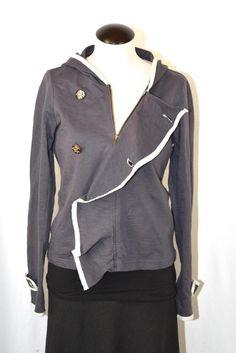 Anthropologie Sunday Monday Tuesday Blue Gray Seagull Zip Hoodie Jacket S  | eBay