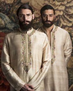 Ivory Embroidered Kurta And Churidaar Indian Men Fashion, Mens Fashion Wear, Men's Fashion, Lakme Fashion Week, Royal Fashion, Wedding Dress Men, Wedding Men, Wedding Suits, Indian Groom Wear