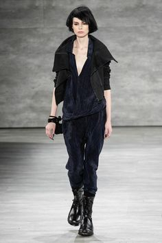 Nicholas K   Fall 2014 - Big black boots and a sharp black jacket can add edge to even the softest outfits