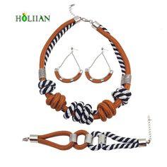 For women fashion jewelry sets ethnic rope knots chokers necklace dangle earring bohemian jewellery boho navy bijoux femme new   #Affiliate
