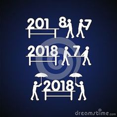 happy new year 2018 with human and number illustration vector suitable for web icon symbol and other