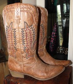 Coconuts Tan Brown Distressed Vegan Leather Boots Women 9.5 #Coconuts #tallboots