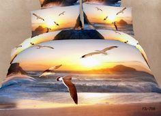 Joybuy Ocean and Seagulls Print Bedding Set 3d Ocean Duvet Cover Sets 3d Sky Seagull Bedding Set 100% Cotton 4pcs Queen Size Comforter Not Included