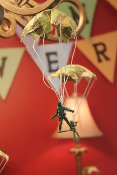 Army Men Parachuting- put invitation information on the parachute and tie back up. Have an open me label on the inside of the envelope.